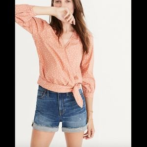 NWT Madewell Star Scatter Wrap Shirt Stars Coral
